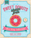 Vintage donuts poster vector illustration Royalty Free Stock Photo