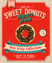 Vintage donuts poster vector illustration Royalty Free Stock Photography