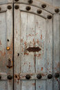 Vintage door in the house antigua guatemala with handle and letterbox slot Royalty Free Stock Images