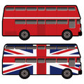 Vintage double decker bus in red and great britain flag color Royalty Free Stock Images