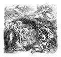 Vintage Drawing of Biblical Story of Shepherds Visiting Newborn Baby Jesus, Virgin Mary and Joseph in Bethlehem.Bible Royalty Free Stock Photo