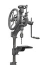 Vintage drill press isolated hand operated woodworking on white Royalty Free Stock Photos
