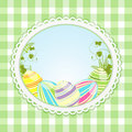 Vintage easter background and ginghaml Stock Photos