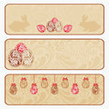 Vintage Easter horizontal banner set. Royalty Free Stock Photos