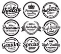 Vintage ecommerce badges nine scalable vector old school percent satisfaction premium high quality and guarantee Stock Images