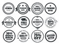 Vintage ecommerce badges twelve scalable vector old school Royalty Free Stock Image