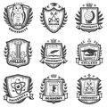 Vintage Educational Coat Of Arms Set Royalty Free Stock Photo