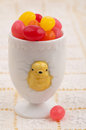 Vintage Egg Cup Filled with Jelly Beans Royalty Free Stock Images