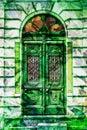 Starodávný rozpracovat dřevěný dveře zelený muž