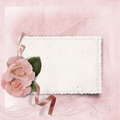 Vintage elegance background with card and rose the space for text or photo Stock Images