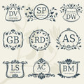 Vintage elegance wedding monograms with floral frames. Vector stock