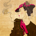 Vintage elegant stylish woman vector retro grunge illustration of Stock Image