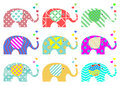 Vintage elephants. Retro pattern. Textures and geometric shapes. PNG available