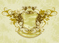 Vintage emblem - flowers ornament on grunge background Stock Photography