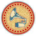 Vintage emblem with gramophone. Royalty Free Stock Photography