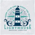 Lighthouse emblem. Vector nautical banner with grunge background. Royalty Free Stock Photo