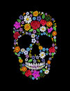 Vintage embroidered flower skull. Muertos Dead Day Fashion design Royalty Free Stock Photo