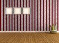 Vintage empty room with striped wallpaper and old frame rendering Royalty Free Stock Images