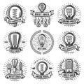 Vintage Energy Efficient Lightbulbs Labels Set