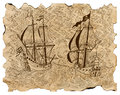 Vintage engraved illustration of pirate ships in sea battle on old parchment Royalty Free Stock Photo