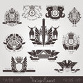 Vintage engraving banners or labels with plant eagle bull and pattern Royalty Free Stock Photo