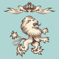 Vintage engraving lion with crown
