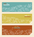 Vintage enjoy autumn text and leaves background ep hand drawn branches with web banners set eps vector file organized in layers Stock Photos