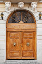 Vintage entrance door decorated with knocker lion head Stock Images