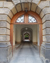 Vintage entrance and secret yard dresden germany old city center saxony Royalty Free Stock Images