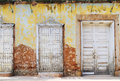 Vintage eroded facade in trinidad, cuba Royalty Free Stock Photo