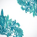 Vintage ethnic vector ornament background blue Stock Photo