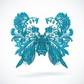Vintage ethnic vector ornament background blue batterfly Royalty Free Stock Photo