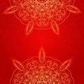 Vintage ethnic vector ornament mandala background red card with card Royalty Free Stock Photos