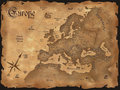 Vintage Europe map horizontal Royalty Free Stock Image