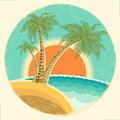 Vintage exotic tropical island with palms and sun on round symbol vector icon on old background Royalty Free Stock Image