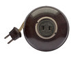 Vintage extension cord brown bakelite over white clipping path Stock Photo