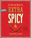 Vintage extra spicy poster vector illustration Royalty Free Stock Images