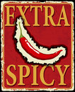 Vintage extra spicy poster vector illustration with chili pepper Royalty Free Stock Images