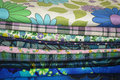 Vintage Fabrics Blue Prints Royalty Free Stock Photo