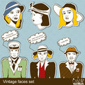 Vintage faces set collection of over blue background Royalty Free Stock Photography