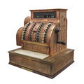 Vintage fancy cash register isolated large brass manual store with engraving on white Royalty Free Stock Photos