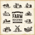 Vintage Farm Buildings Set Royalty Free Stock Photo