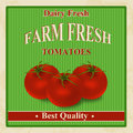 Vintage farm fresh tomatoes poster organic vector illustration Stock Photo