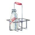 Vintage farmhouse kitchen metal holder rack with bottles of milk.