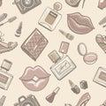 Vintage fashion female seamless pattern