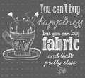 Vintage fashion and sewing poster with pin cushion