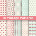 Vintage fashionable vector seamless patterns tiling retro pink white and blue colors endless texture can be used for printing onto Royalty Free Stock Photography
