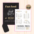 Vintage Fast food menu with hand drawn elements. Pizza, Hot Dog sketch corporate identity