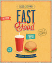 Vintage fast food poster vector illustration Royalty Free Stock Image