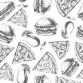Vintage fast food seamless pattern
